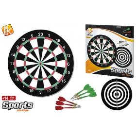 Dart board d37 cm + 6 darts metal tip