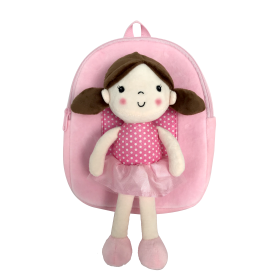 Backpack with removable doll