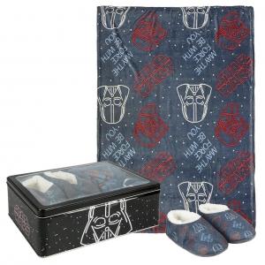 Star Wars fleece blanket, slippers and metal box gift set