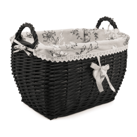 Black wicker basket with handles and floral material 40x31x27/33 cm